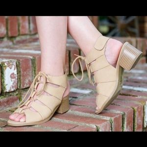 Other - Girls tan lace up chunky heel bootie sizes 9-4 $19